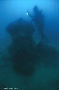 Small upright underwater column, Nan Madol.