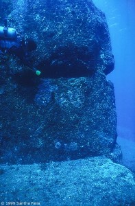 The right eye of the Face with diver for scale. The Face looks due south.