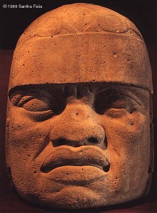 'Olmec' head from la Venta, Gulf of Mexico, approximately 1500 BC. Current theories of racial dispersal cannot explain the presence of this negroid face this early in the Americas.