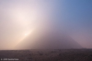 Pyramid at Giza. Seeming to rise out of the morning mist as a potent image of the Benben stone - said to have fallen from heaven.