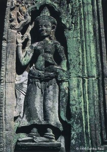 Asparas (celestial dancers) decorate many of the temples at Angkor.