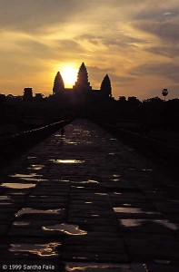 Entrance causeway and central towers of Angkor Wat, at sunrise, two days before the autumn equinox.