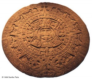Aztec calendar stone depicting Tonaituh, the Fifth Sun, the face and symbol of our current epoch of the earth.