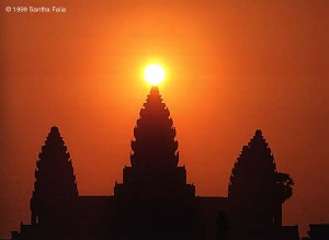 The sun rising over the central tower of Angkor Wat at dawn on the spring equinox.