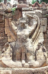 Is Garuda, the mythical birdman of the Hindus, here shown at Ta Prohm, to be compared with the Egyptian falcon-man Horus? Such similarities between the two cultures are uncannily common.