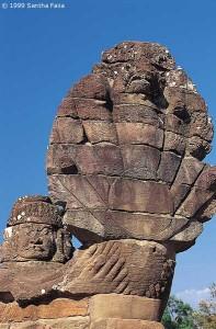 Detail of Naga - 'serpent' balustrade, Angkor Thom.