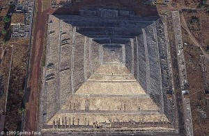 View down on the apex of the Pyramid of the Sun, believed by the Aztecs to be the place of creation.