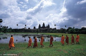 Angkor Wat: reflections in the sacred lake.