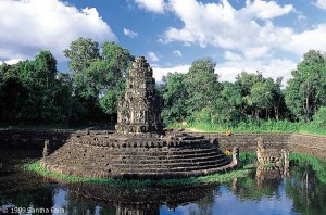 Central sanctuary of Neak Pean, encircled by two coiled Naga serpents.