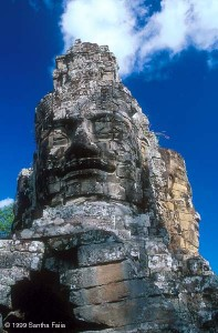 Giant faces of the Bodhisattva Lokesvara, gazing towards the cardinal directions, southern entrance gate, Angkor Thom.
