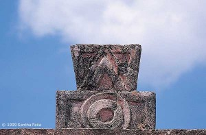 Hieroglyph for a cycle of time surmounting a pillar in the so-called 'Palace of the Quetzal Butterfly' at Teotihuacan.