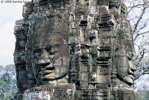 One of the 54 stone towers of the Bayon, each with four faces of Lokesvara.