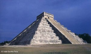 The shadow epiphany of the Feathered Serpent on the side of the Pyramid of Kukulkan at Chichen Itza. This 'trick of light and shadow' occurs only on the equinoxes, 21 March and 21 September, at around 5.30 p.m.