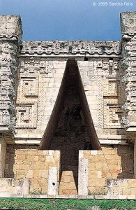 The façade of the House of the Governor, Uxmal - a terrestrial counterpart to Gemini.