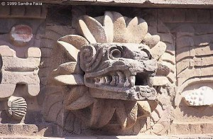 Teotihuacan: emblem of Quetzalcoatl - 'Feathered serpent', who is also described in myths as a bearded, pale-skinned stranger who came from across the sea.