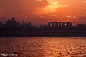 Sunrise behind the Temple of Luxor.