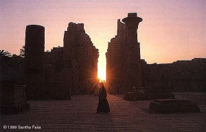 Karnak axis at dawn, photographed two weeks before the winter solstice.