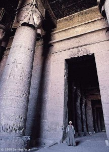 Entrance to the hypostyle hall, Dendera, viewed from the vestibule.