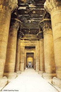 The hypostyle hall at Edfu, temple of Horus.