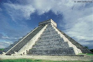The step pyramid of Quetzalcoatl/Kukulkan at Chichen Itza, a monument to the feathered Serpent.