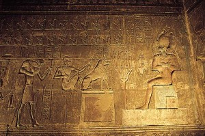 Osiris, judge of the dead, presides over the 'weighing of the soul'