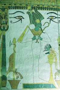 Osiris flanked by two Eyes of Horus, stands before an offering table, tomb of Sennedjum.