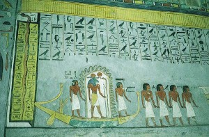 Detail of the journey through the Duat from the Book of gates, tomb of Rameses VI.