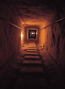 The descending corridor of the Great Pyramid. Was this built as a 3-D 'model' of the Duat to initiate the new pharaoh into the mysteries of the Netherworld? See Gallery 4, image 6.