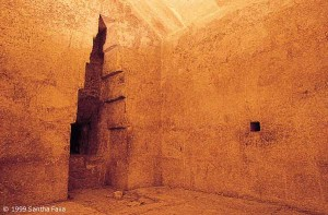 The Queen's Chamber of the Great Pyramid with its curious corbelled niche of unknown function. Robot-camera explorations of the narrow shaft to its right have uncovered the remains of a possible door that may lead to a previously undiscovered chamber.