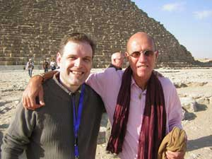 Creighton (left) and Bauval at the Great Pyramid