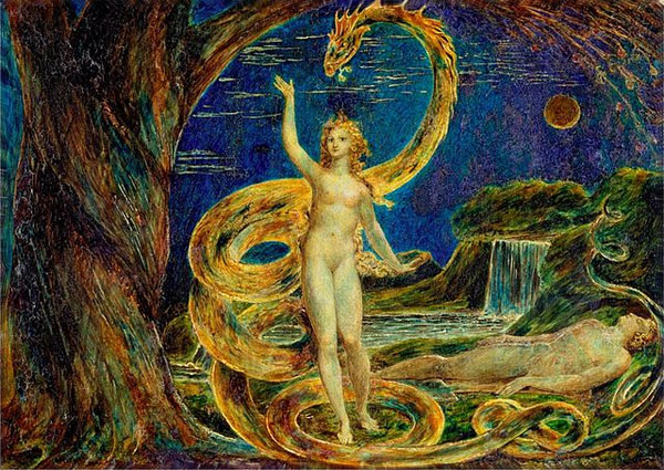 "Painting, ""Eve Tempted by the Serpent"", by William Blake (Wikimedia Commons)"