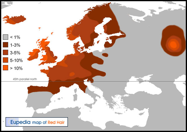 Distribution of modern humans of both sexes with red hair in Europe