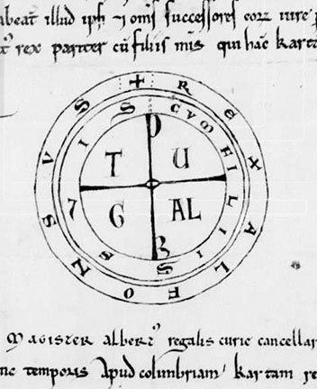 Afonso's seal on the Charter of Ceras, granting the Templars a kingdom