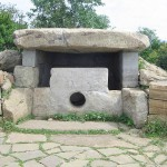 Fig. 8. The Nexis mountain dolmen near the town Gelendzhik in the Northwest Caucasus region of Russia showing its holed entrance façade.