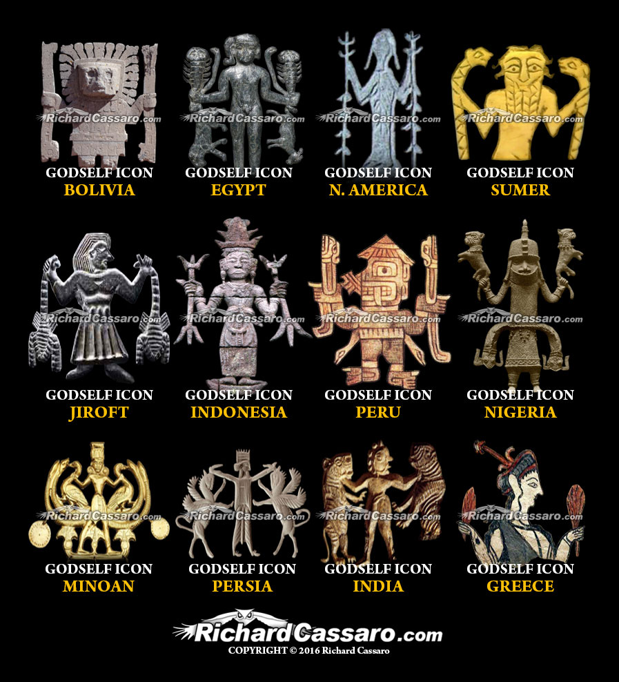 """GodSelf Icons,"" a prominent feature of most ancient cultures, cast serious doubts about conventional theories of human spiritual evolution and the emergence of civilization."