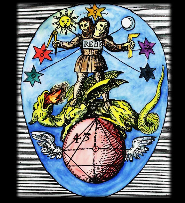 Rebis from Theoria Philosophiae Hermetica (1617) by Heinrich Nollius. Sun (and Masonic compass) in the right hand, Moon (and Masonic square) in the left hand. The icon has two heads. Male right, female left.
