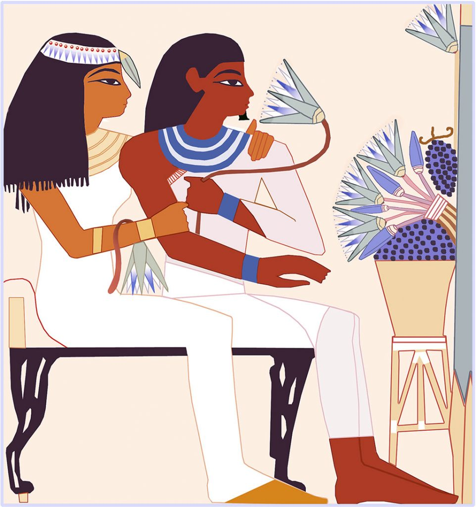 1: This copy of a painting from an ancient Egyptian tomb is filled with Sacred Blue Waterlily symbolism: her headband, the bud over her forehead, the flower over her arm, the bloom he is contemplating, and the bouquet of Waterlilies in front of them. Sacred Blue Waterlilies are ubiquitous in ancient Egyptian tomb paintings. What is their significance?