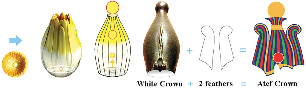 8: The White Crown was inspired by a White Waterlily's stamen cluster, with its sun/Sun rising out the top. The Atef Crown is known to include a White Crown, often with its stamen lines and Sun showing, and a Maat feather on either side. It usually has a Sun rising out of its top. Therefore, we know that the bulge at the top of every White Crown symbolizes the Sun. However, stand-alone White Crowns rarely display stamen lines. Crowns were symbols used in art, and not wearable crowns (one exception: Seshed's golden headband, the only type of crown found to date).