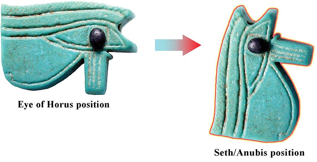 14: In the Eye of Horus' Eye-position Seth disappears = in myth he is castrated. And in the Seth-position Horus' eyes (one on either side) disappear = he is blinded. Rationalizations of the Eye of Horus' shape are responsible for much of Osirian mythology – the shape came before the myth.