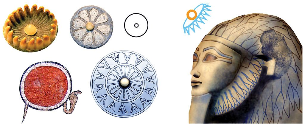 """5: One cobra around a Sun Disk is also a Cobra-Ring and inspired by the Blue Waterlily. Waterlily petals shown encircling a face imply that face is the Sun because of the sun at the Waterlily's center. The petals also imply scent because a Blue Waterlily's scent is in its petals. The White Waterlily doesn't have a discernable scent. Shapes referred to as """"rosettes and roundels"""" are usually Waterlily centers, as are the flower designs on the breasts of some royal women's statues; the glyph for the Sun; the Solar Eye; the Solar Boat, and the stack of three stylized Cobra-Rings at the top of Djed Pillars."""