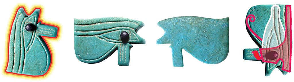 17: The Eye of Horus/Wedjat has four positions: Horus' left eye (moon), his right eye (Sun), Seth (legless and wounded), and the Double Crown (Seth upside down). None can be eliminated without eliminating them all. When the Eye of Horus is rotated or turned over, nothing actually changes except one's perspective, which suggests that change is an illusion. The Eye of Horus symbolizes transformation.