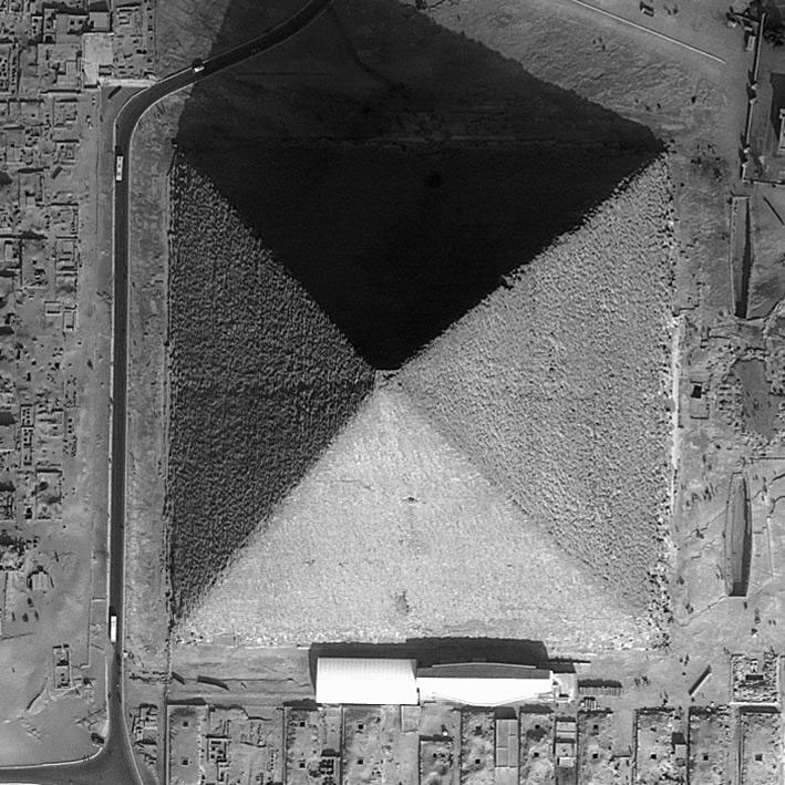 Fig. 6. Satellite photo of the Great Pyramid of Giza showing that it is eight-sided. (Apollo Mapping and DigitalGlobe. With permission from Ikonos.)