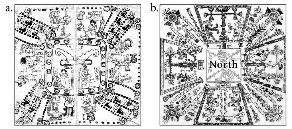 Figure 5. Worldview maps showing the eight-partitioning of the global grid. (a) Mayan cosmogram from the Codex Madrid. In the center is the Tree of Life, the polar axis, which is surrounded by eight deities and various calendrical signs defining their spiritual qualities. (b) Aztec cosmogram from Codex Fejérváry-Mayer with a central deity in the north from which Trees of Life are projected in eight different directions. (Wikimedia Commons.)