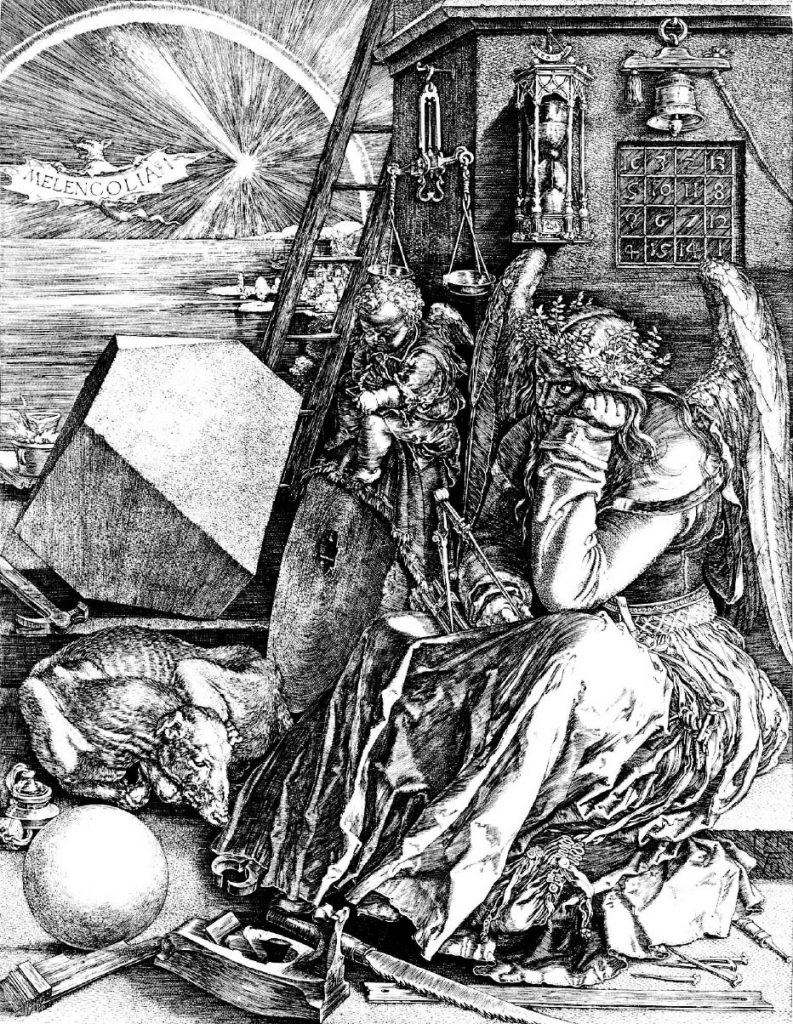 German Renaissance master Albrecht Durer's 1514 engraving 'Melencolia 1' is loaded with Freemasonry. Mathematical knowledge is referenced by the use of symbols, compass, geometrical solid, magic square and an hourglass showing time is running out.