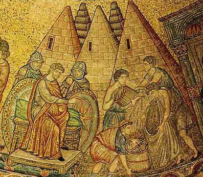 13th century Mosaic found in Basilica de San Marco, Venice, depicting Pyramids.