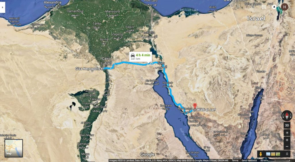 The documents were found a good 150miles from Giza, at Wadi-al-Jarf harbor, the oldest known Egyptian port hitherto discovered. Source: Google Maps