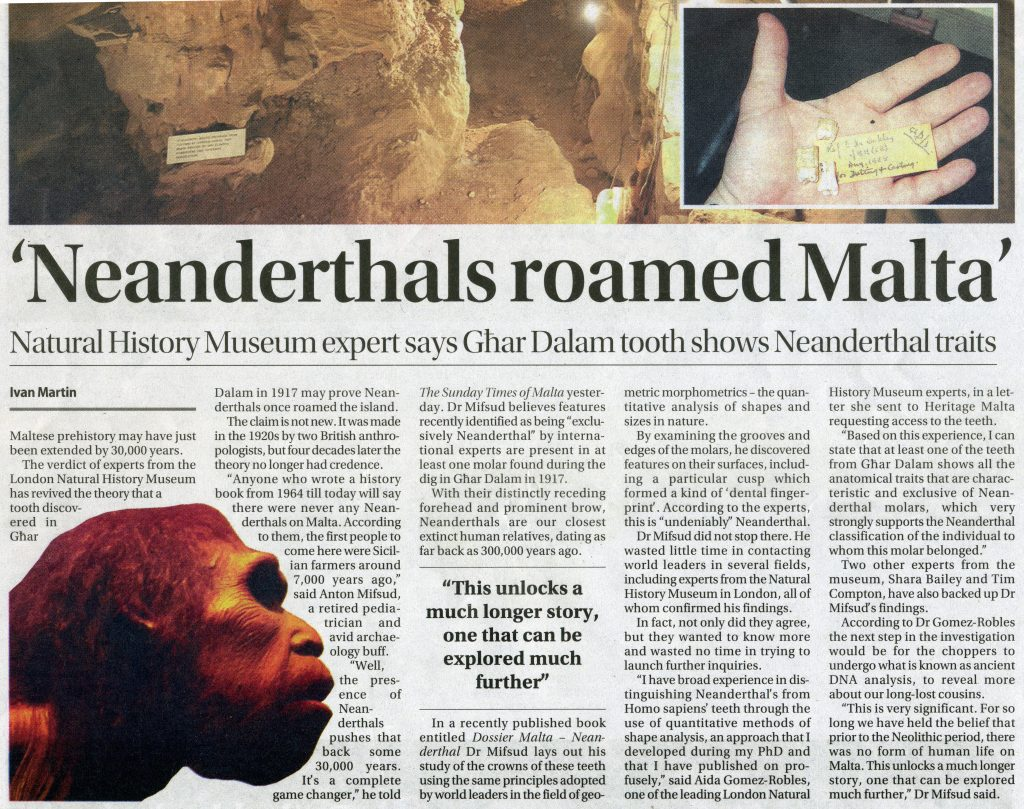 One of the local tabloids covered the story – this included a few inaccuracies; only Tim Compton is from the Museum of Natural History in London, the other experts are from North America. (Courtesy of The Sunday Times of Malta 19th June 2016)