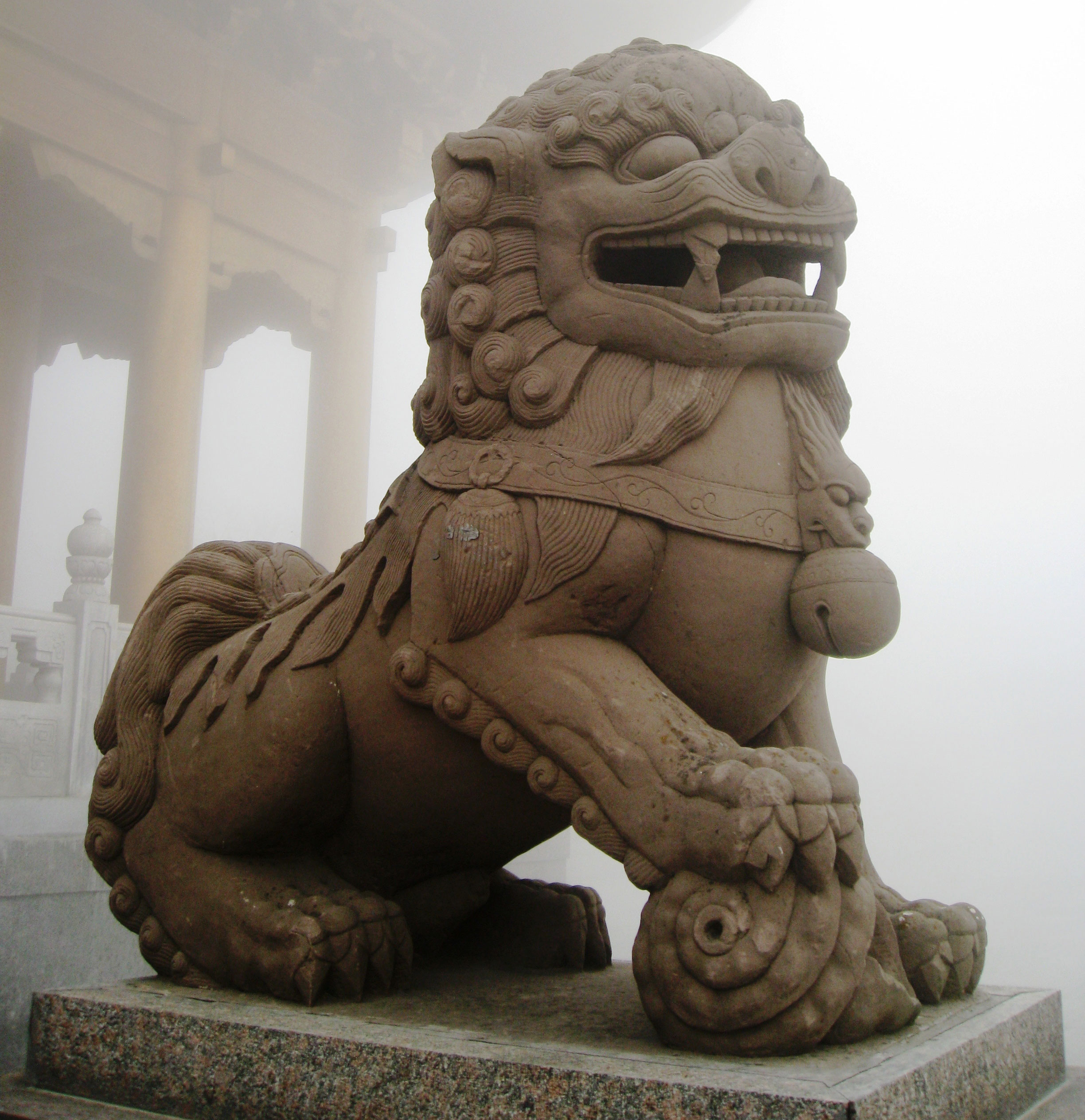 Olmec yogis with hindu beliefs did they migrate from ancient china fig 24 stone statue of a guardian lion at mount emei in china chris feser cc by 20 publicscrutiny Image collections